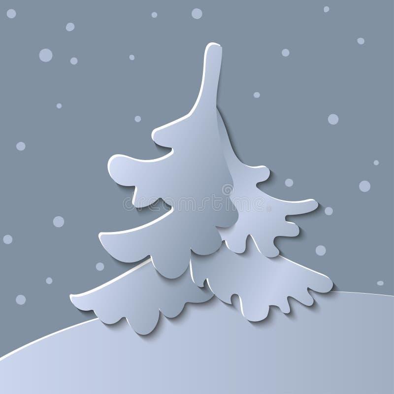 3d sottraggono l'illustrazione del taglio della carta dell'albero di Natale illustrazione vettoriale