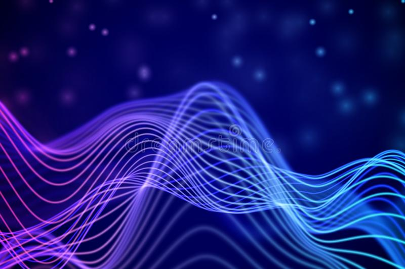 3D Sound waves. Big data abstract visualization. royalty free illustration