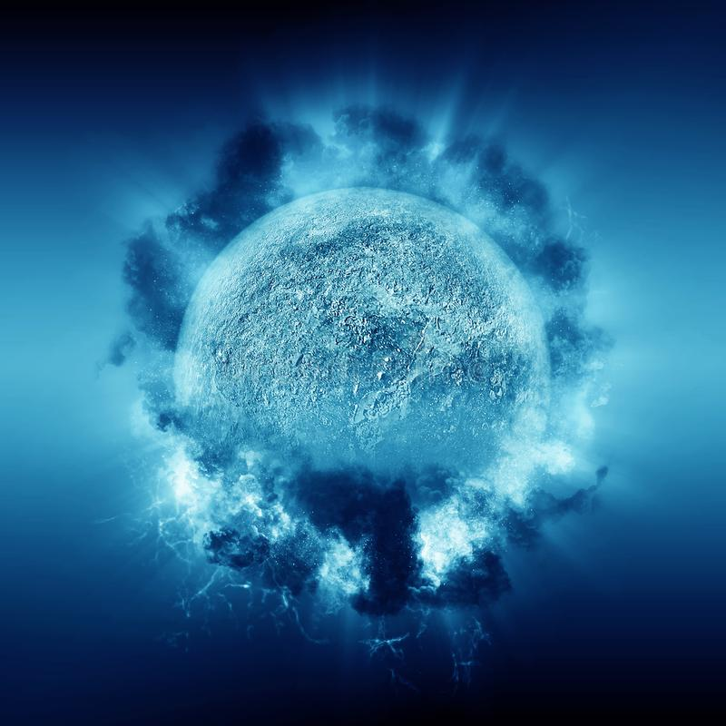 3D soustraient le fond de l'espace avec la planète et les nuages fictifs illustration libre de droits