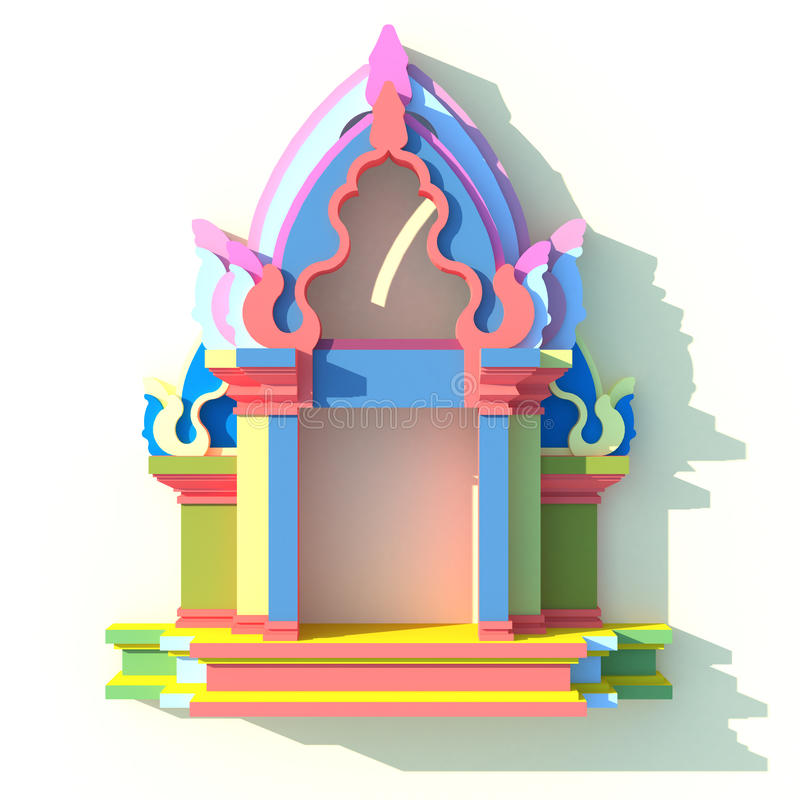 3D of south-east Asian pavilion or temple front view. 3D elevation of south-east Asian pavilion or temple front view in artistic design vector illustration