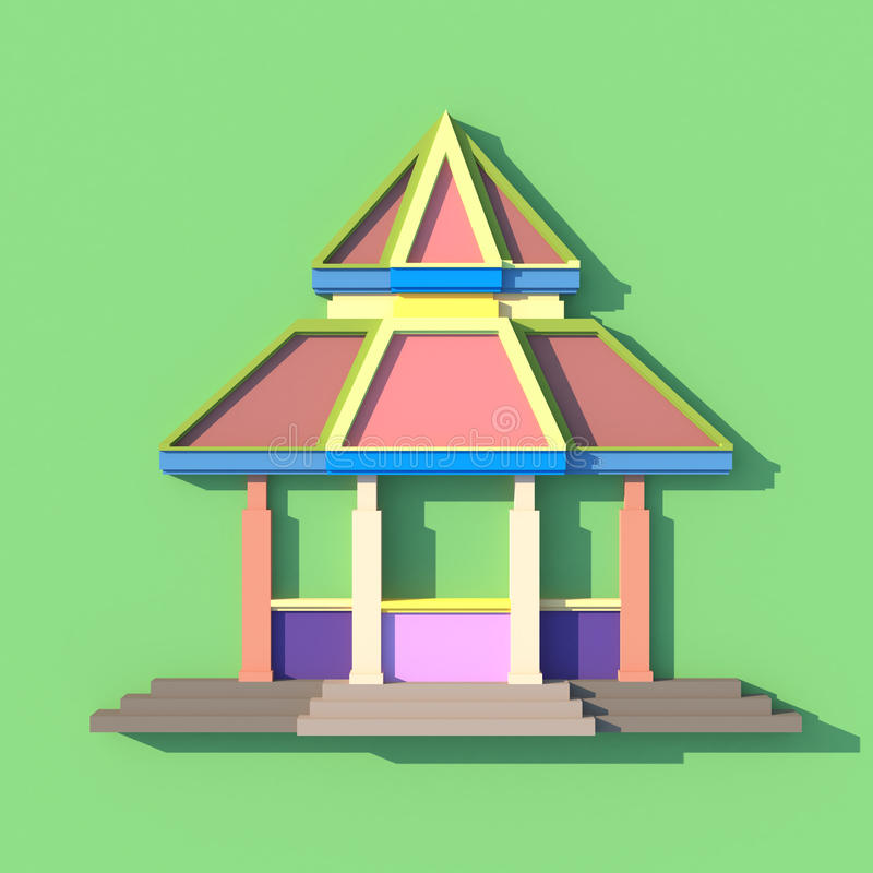 3D of south-east Asian pavilion or temple front view. 3D elevation of south-east Asian pavilion or temple front view in artistic design stock illustration