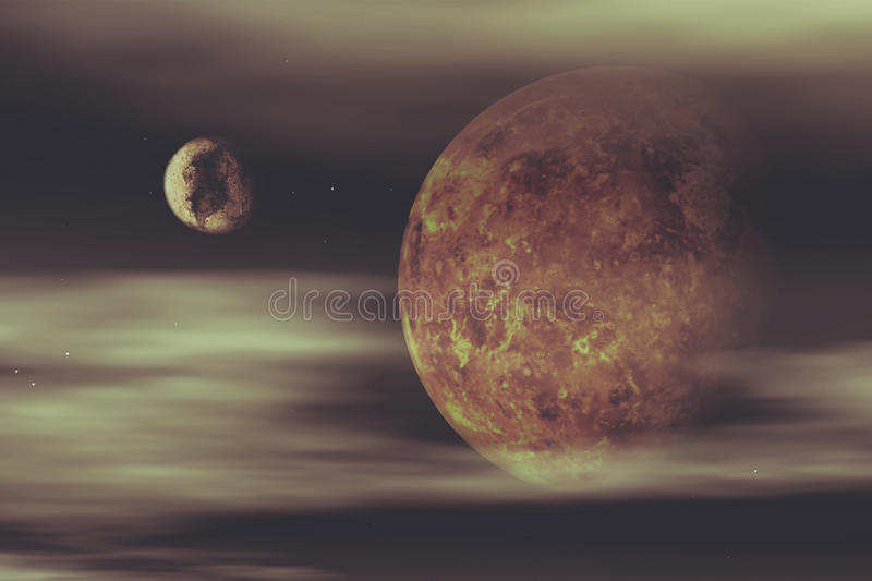 3D space background with fictional planets royalty free illustration