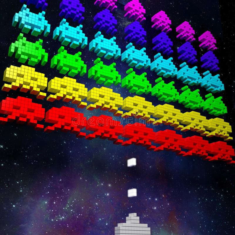 3D Space Invaders royalty free stock photo