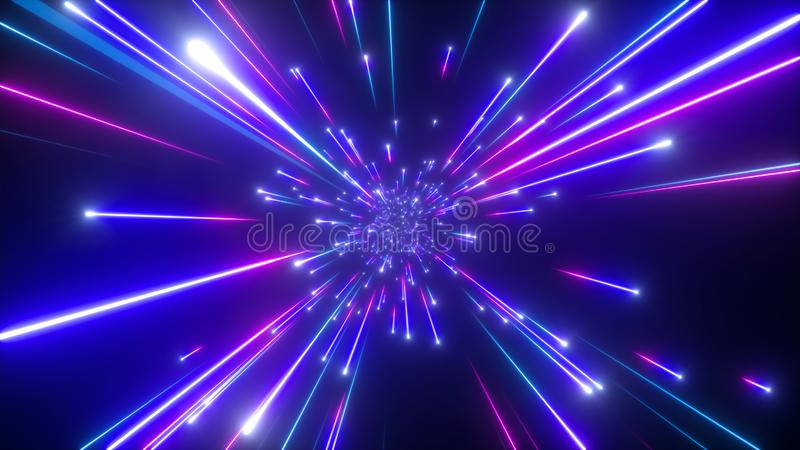 3d spada gwiazdy, du?y uderzenia galaxy, abstrakcjonistyczny pozaziemski t?o, niebia?ski, pi?kno wszech?wiat, pr?dko?? ?wiat?a, f ilustracji