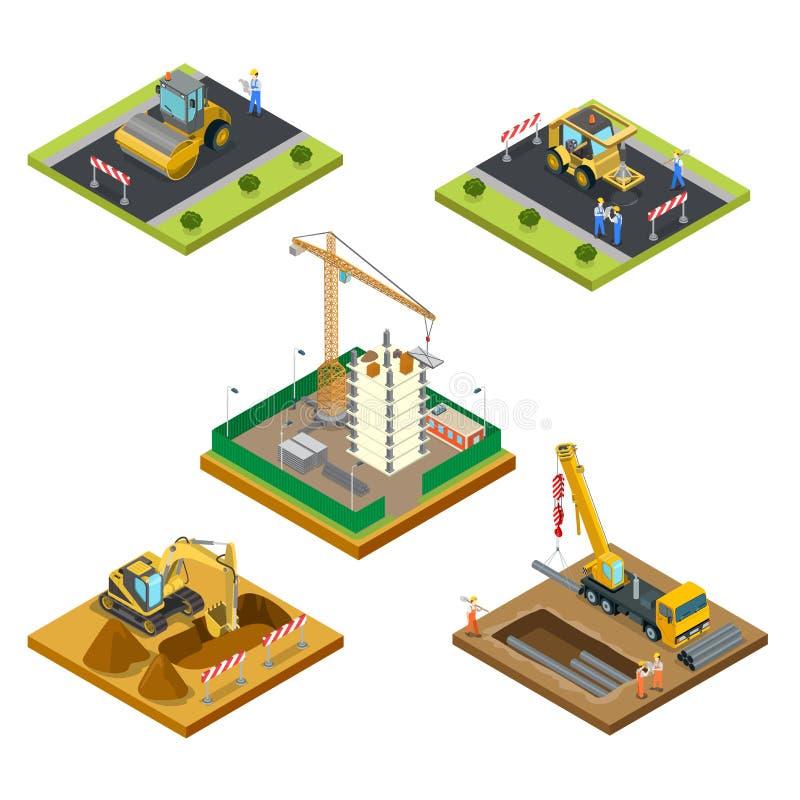 3d specjalnej maszynerii Płaski isometric wektorowy miasto co ilustracja wektor
