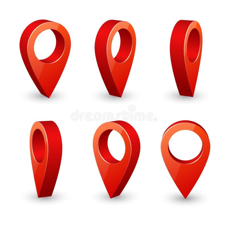 3d speld van de kaartwijzer De vectordiereeks van plaatssymbolen op witte achtergrond wordt geïsoleerd royalty-vrije illustratie