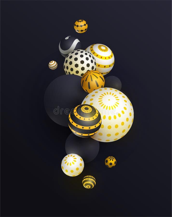 3d sphère, fond réaliste de ballon, bannière pour la présentation, page de débarquement, site Web illustration libre de droits