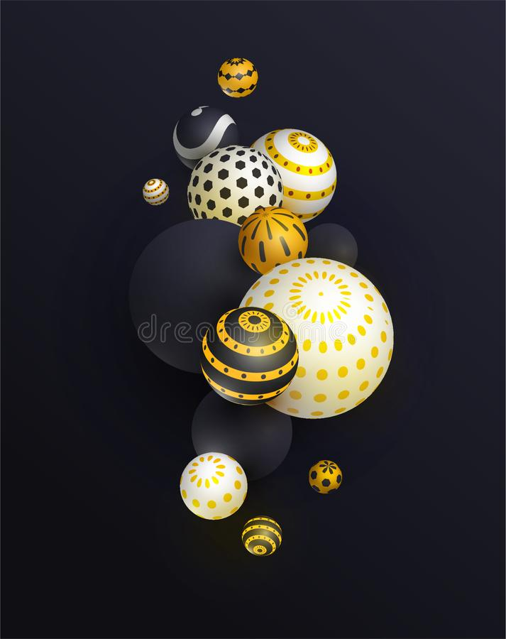 3d sphere, balloon realistic background, banner for presentation, landing page, web site. royalty free illustration