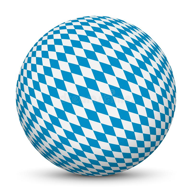 3D Sphere with Bavarian Diamond Pattern Texture. Rhombs in Blue and White. Spherical Design Element Isolated on white Background for your Layout and Business royalty free illustration