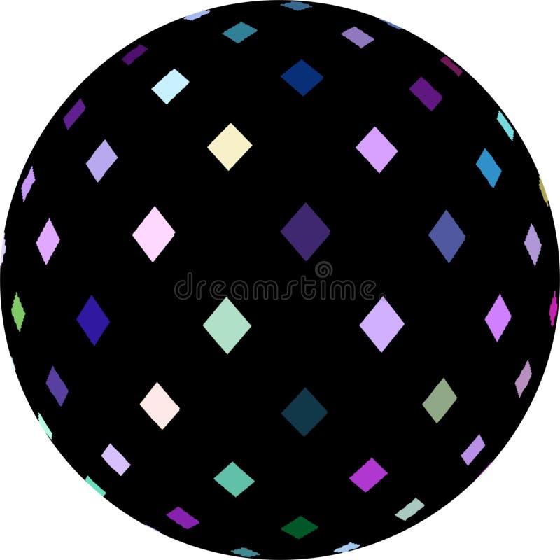 3d sphere black blue lilac white mosaic crystals decoration. Geometric simbol isolated. stock illustration
