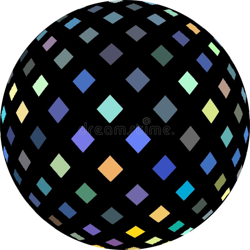 3d sphere black decoration shimmer mosaic. Blue yellow crystals. Globe object isolated. Creative icon. stock illustration