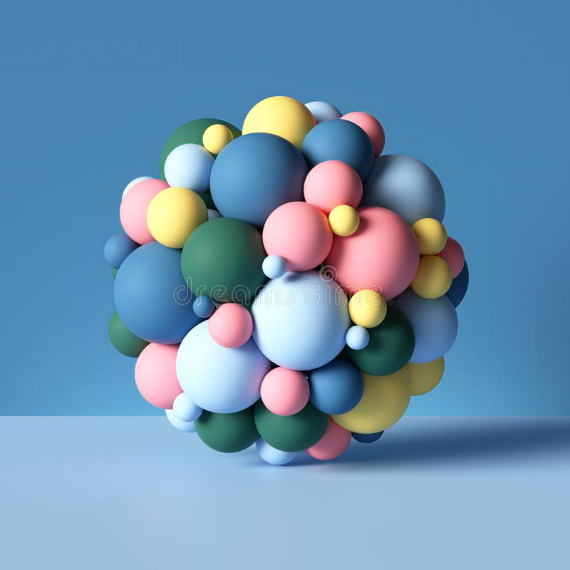 3d sphere combined of mixed colorful balls, geometric shapes isolated on blue, abstract background, stack of toys, primitives stock illustration