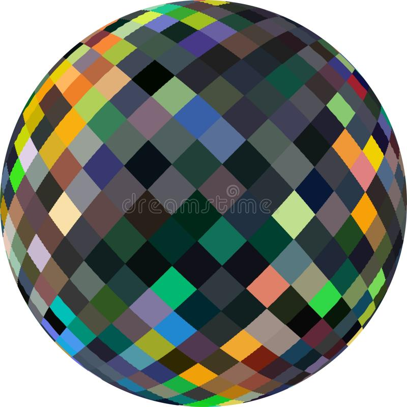 3d sphere glass shimmer abstract icon. Crystal ball symbol. Green yellow gray black pixels pattern. vector illustration