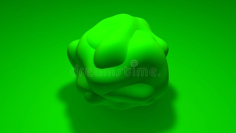 3D sphere of irregular shape with a curved surface. The object is green on a green background. 3D rendering of abstract object, stock illustration