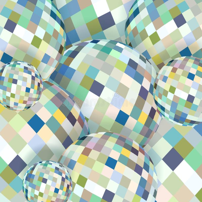3d sphere light glass abstract background. White blue grey green pixels pattern. Dynamic creative balls. stock photography