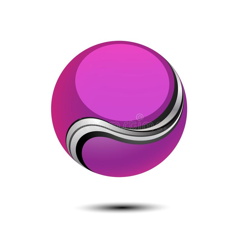 3D Sphere Logo. Clip art logo vector illustration of a purple pink globe, ball or circle with an abstract swoosh isolated on a white background with drop shadow royalty free illustration