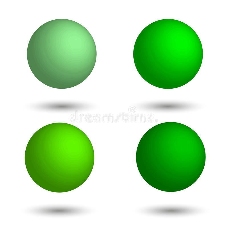 3D sphere. Set of realistic balls of different shades of green. vector illustration