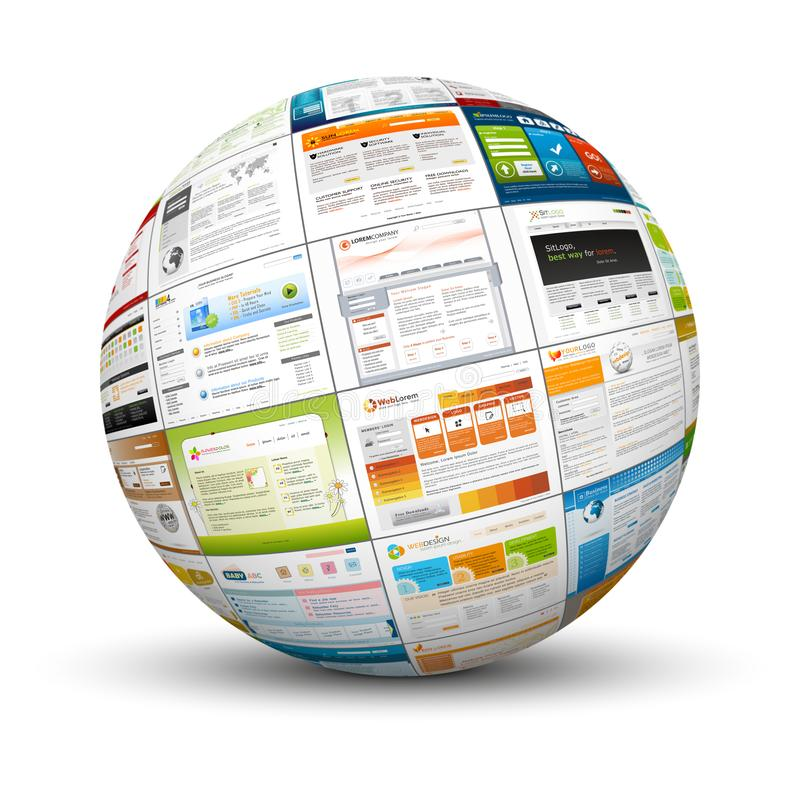 3D Sphere with Web Design Template Texture royalty free stock photos