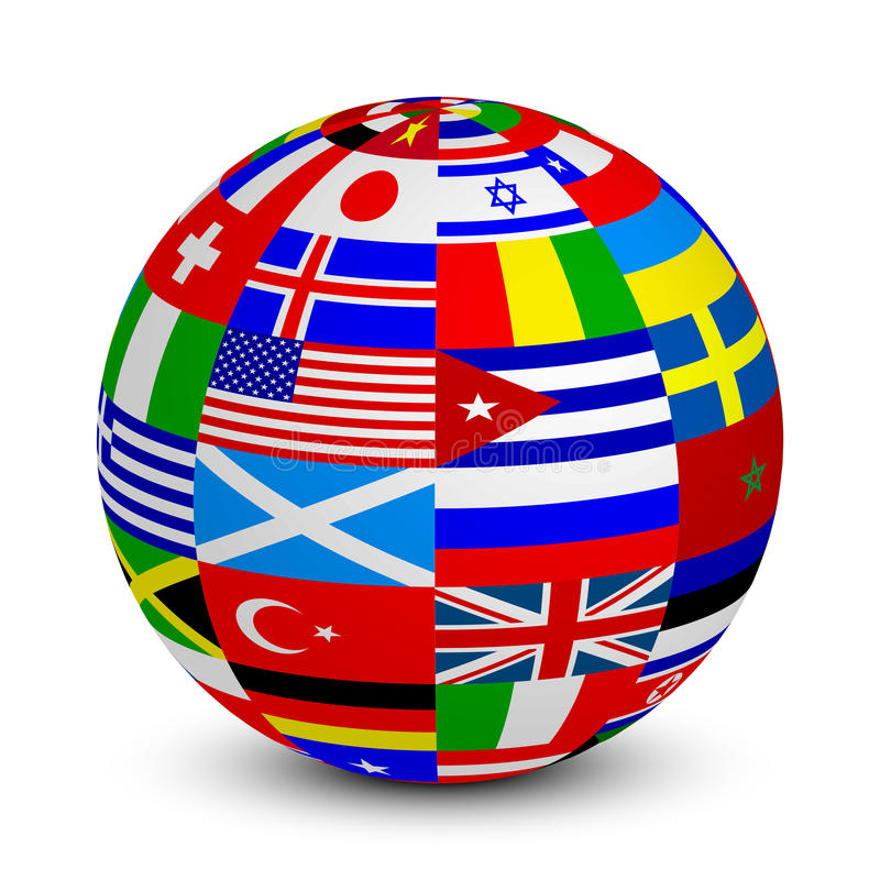 3d sphere with world flags vector illustration