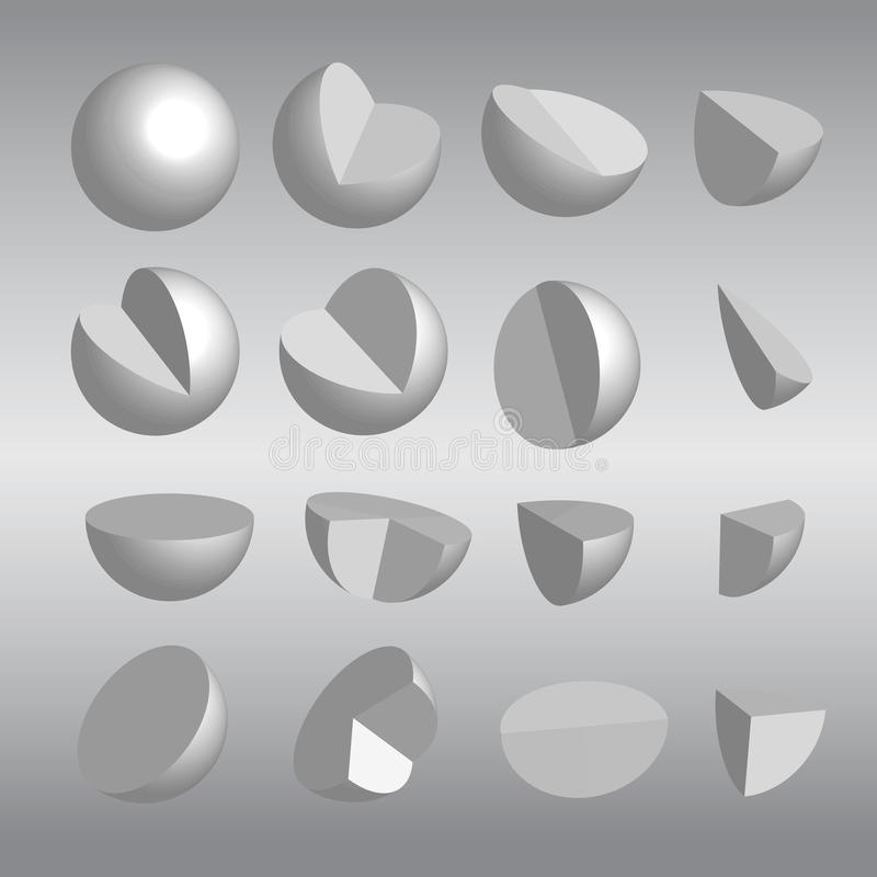 3D Spheres and fractions vector royalty free stock photography