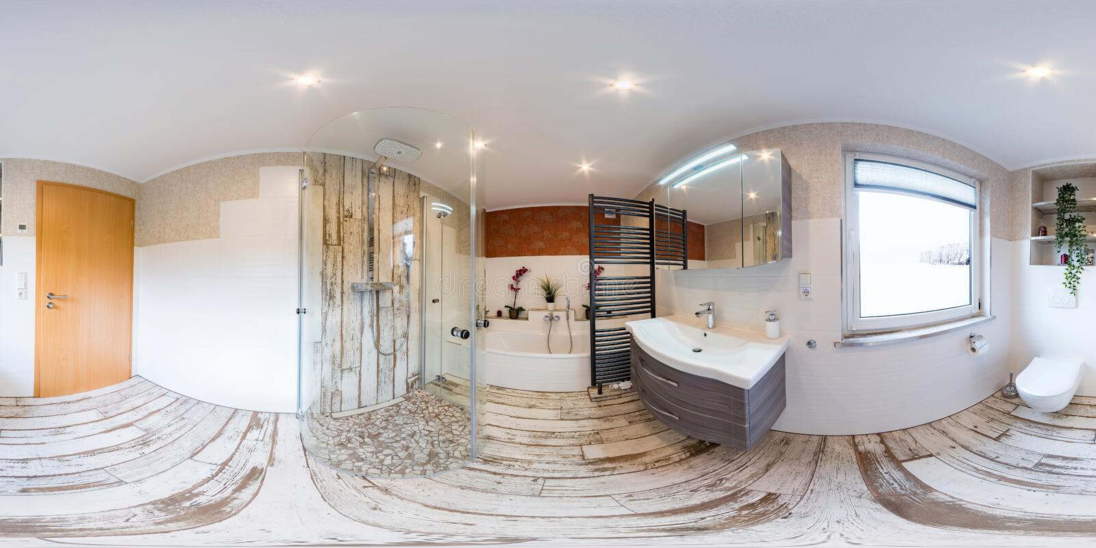 3D Spherical 360 degrees, seamless panorama of bathroom interior vintage style stock photo