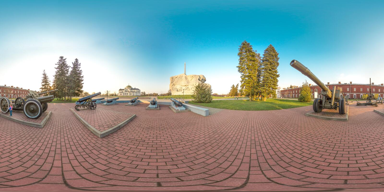 3D spherical panorama with 360 viewing angle. Ready for virtual reality or VR. Full equirectangular projection. Brest fortness. Spring stock photography