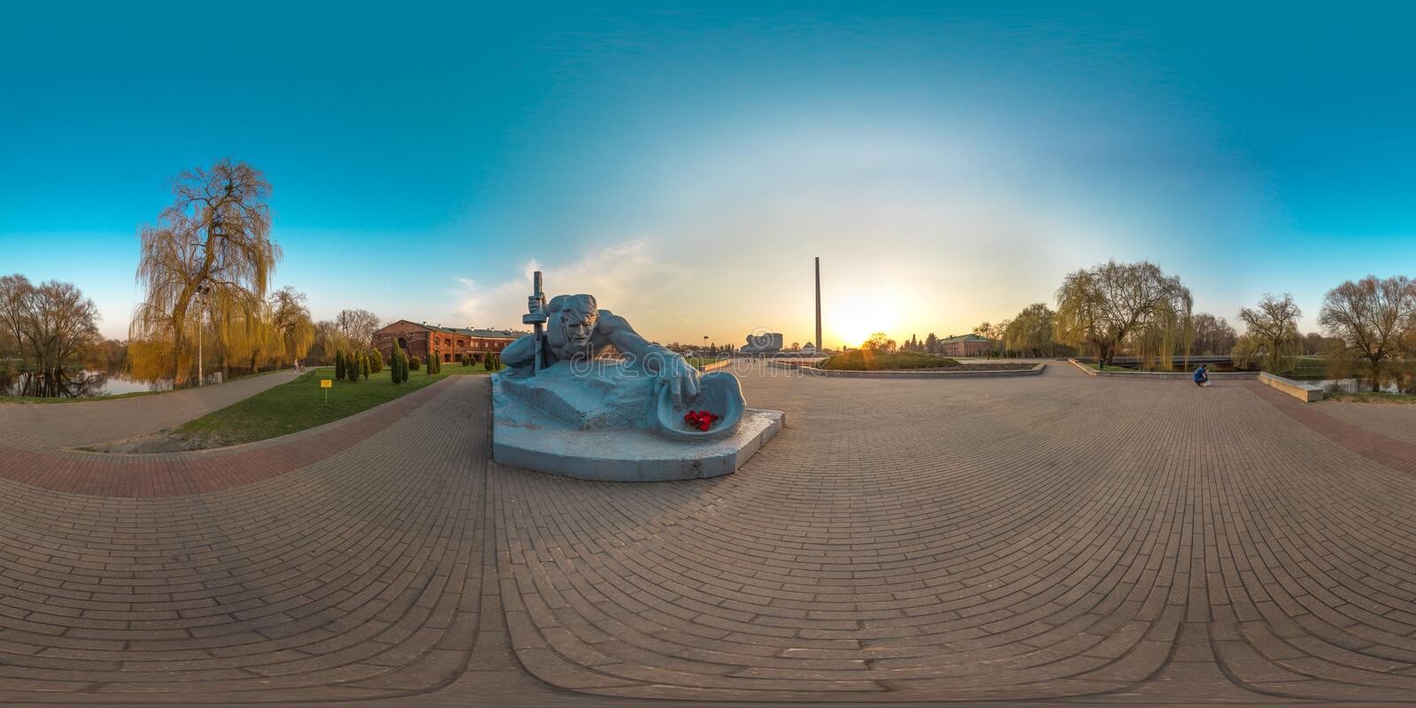 3D spherical panorama with 360 viewing angle. Ready for virtual reality or VR. Full equirectangular projection. Brest fortness. Spring royalty free stock photography