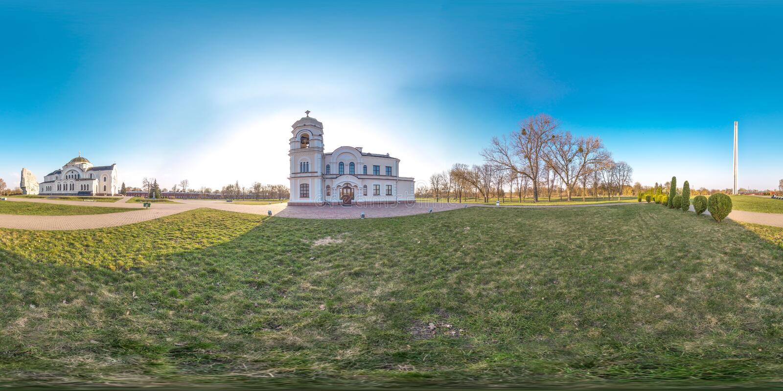 3D spherical panorama with 360 viewing angle. Ready for virtual reality or VR. Full equirectangular projection. Brest fortness. Spring stock photo