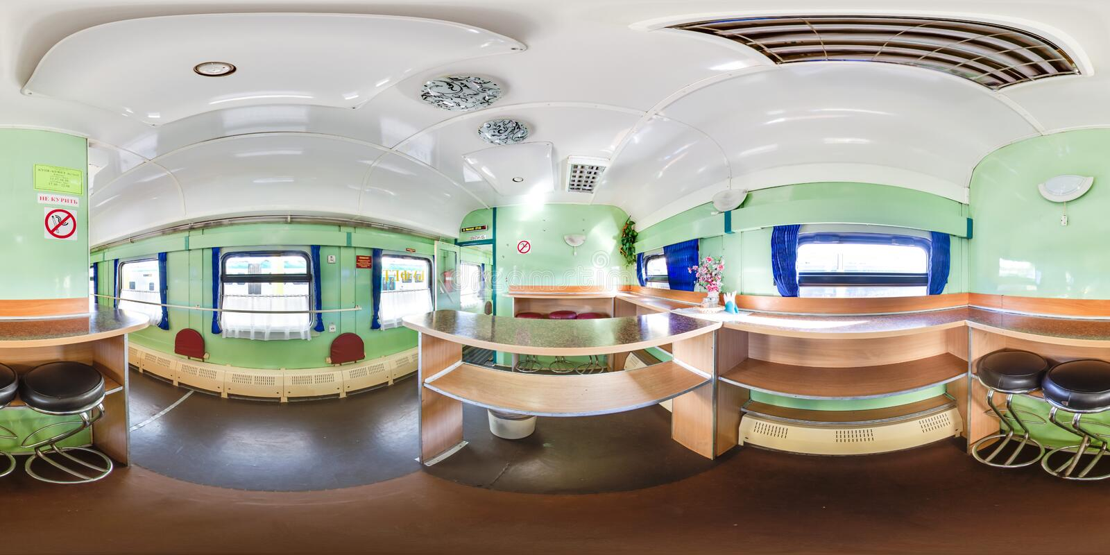 3D spherical panorama with 360 viewing angle. Ready for virtual reality or VR. Full equirectangular projection. Interior of train. Dining car. Spring stock images