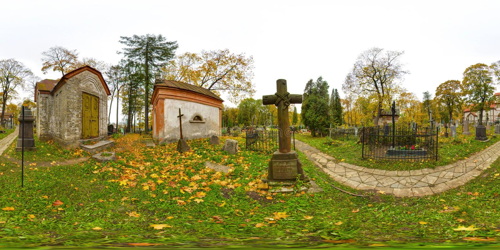 3D spherical panorama with 360 viewing angle. Ready for virtual reality or VR. Full equirectangular projection. Old cemetery. Old stock photography