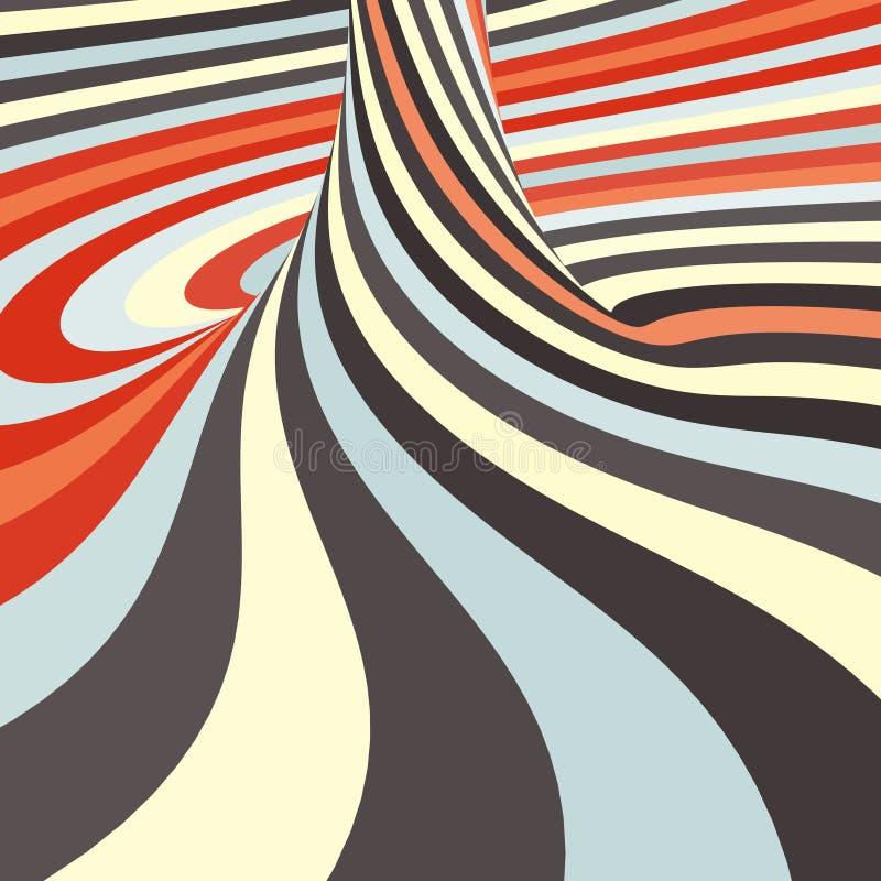 3d spiraalvormige abstracte achtergrond Optisch art Vector royalty-vrije illustratie