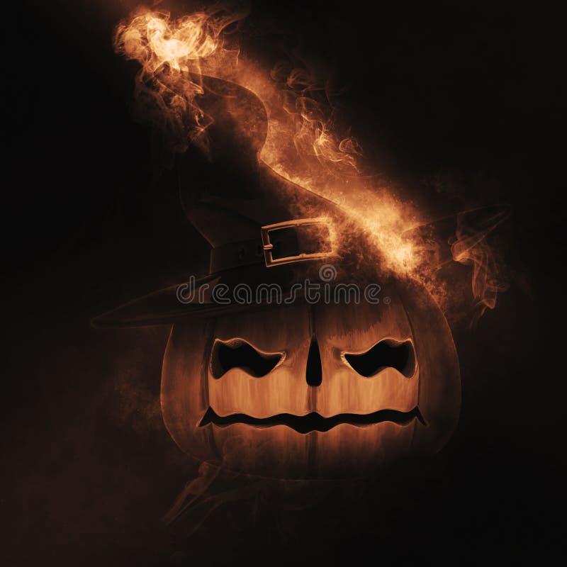 3D Spooky pumpkin on fire stock illustration