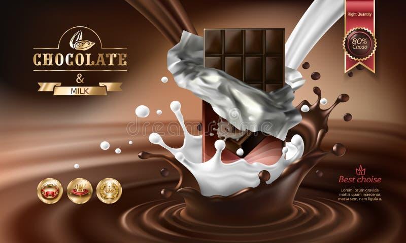 3D spritzt von geschmolzener Schokolade und von Milch mit fallenden Stücken Schokoriegeln lizenzfreie abbildung