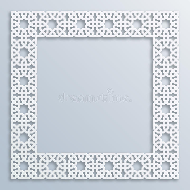 3D square white frame, vignette. Islamic geometric border Vector muslim, persian motif. Elegant oriental ornament royalty free illustration
