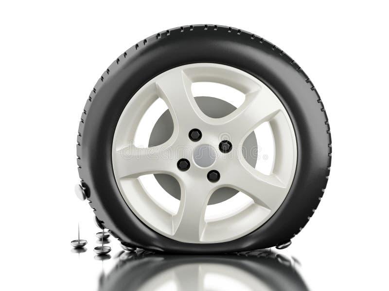 3d stänger sig upp av det plana gummihjulet vektor illustrationer