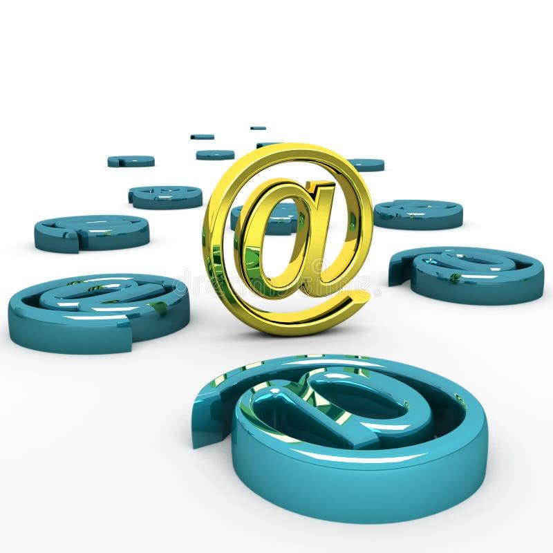 3d staale-mail Internet pictogram geïsoleerd op wit royalty-vrije illustratie
