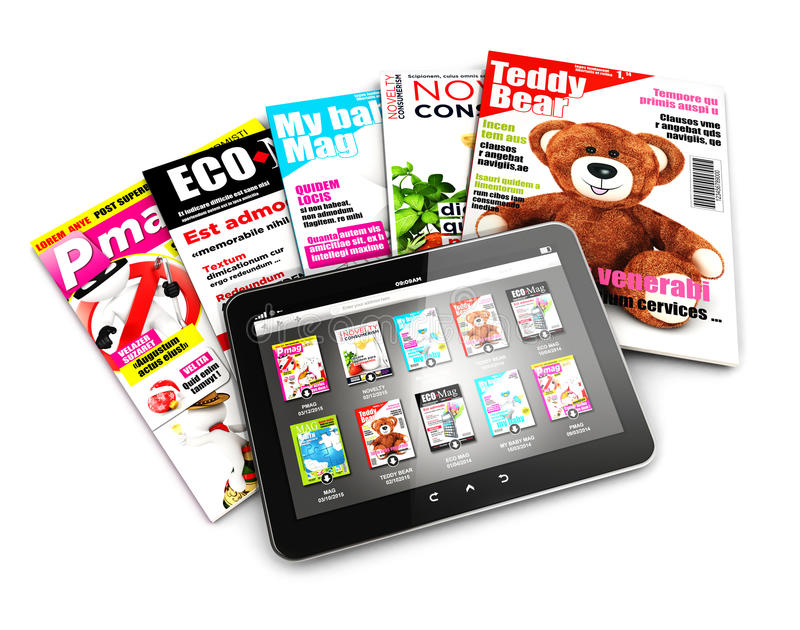 3d stack of magazines and tablet. Isolated white background, 3d image royalty free illustration