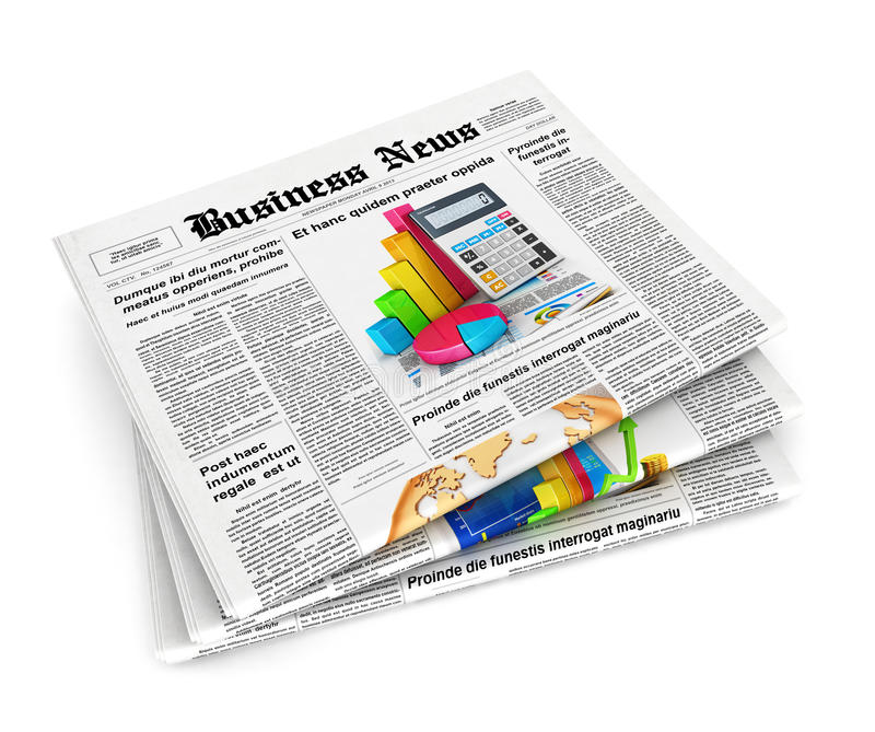 3d stack of newspapers. Isolated white background, 3d image stock illustration