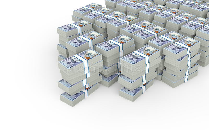 3d stacks of hundred dollar US notes royalty free stock photos