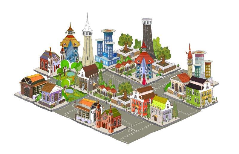 3D stadsachtergrond stock illustratie