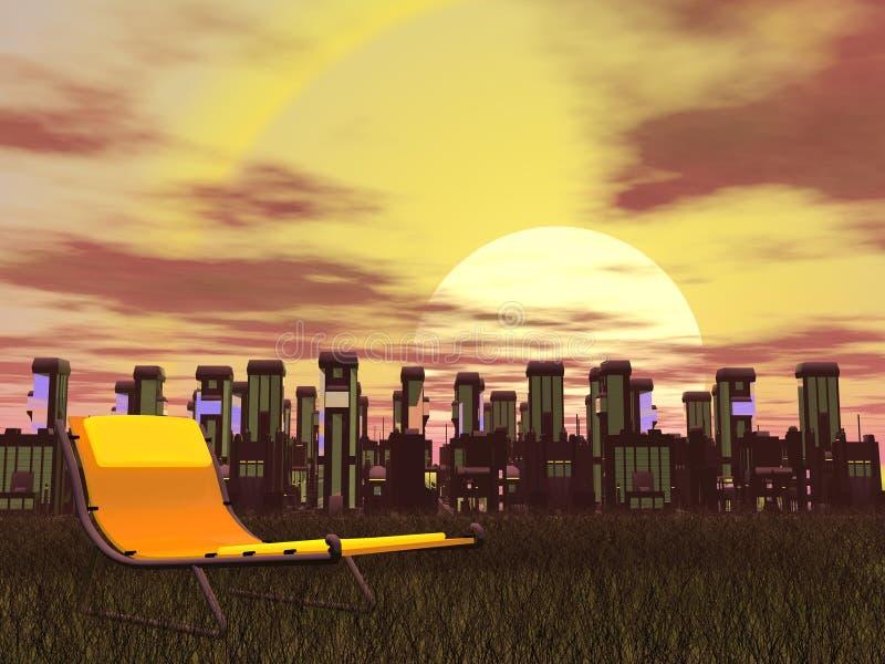3D stadsontspanning - geef terug stock illustratie