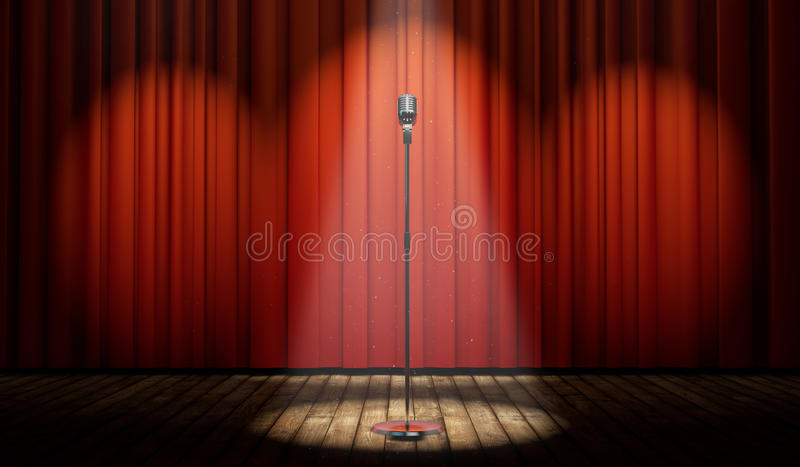3d stage with red curtain and vintage microphone in spot light. With magical particles royalty free illustration