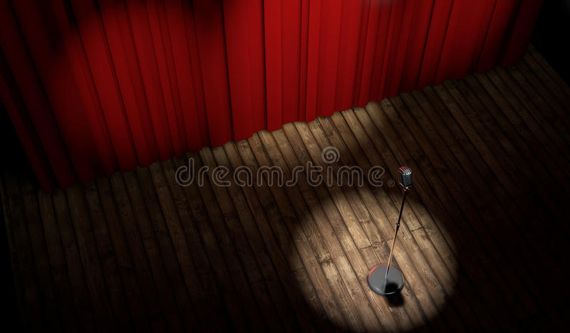 3d stage with red curtain and vintage microphone. In spot light, top view royalty free illustration