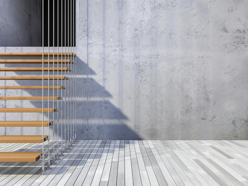 3d staircase hanged by cables. 3ds rendered image of wooden staircase hanged from ceiling by stainless cables, cracked concrete wall and old wooden floor stock photography
