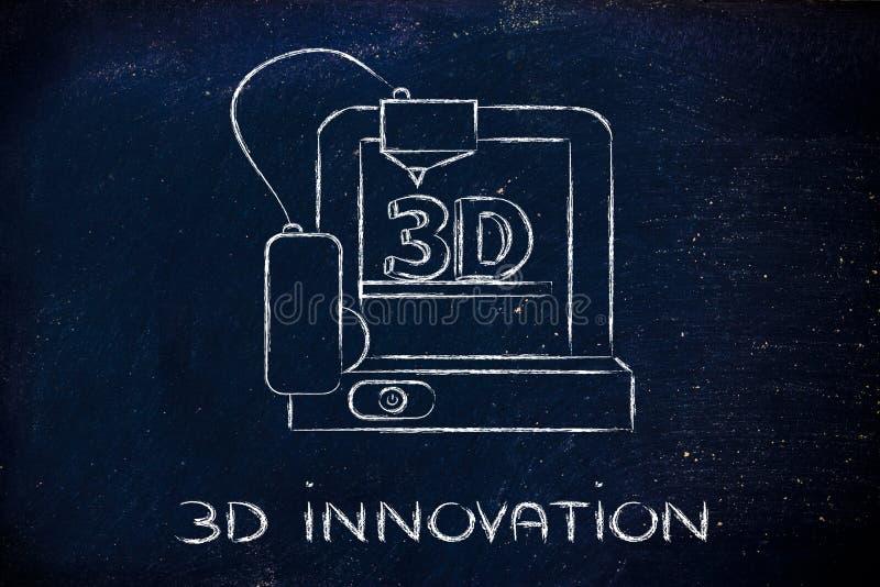 3D stampante, innovazioni dell'hardware di tecnologia dell'informazione illustrazione di stock