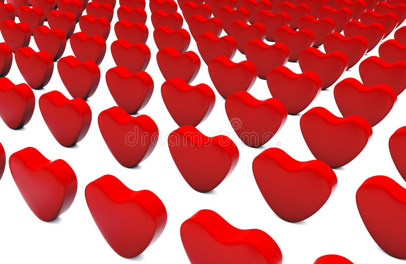 3d Standing Red Hearts Pattern stock photography