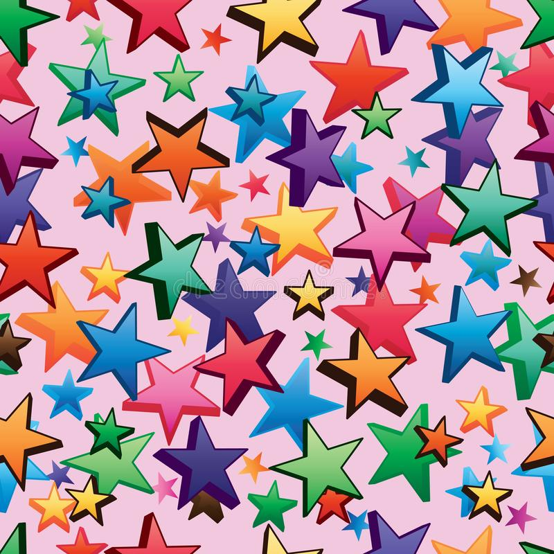 3d star dark bright many star style seamless pattern royalty free illustration