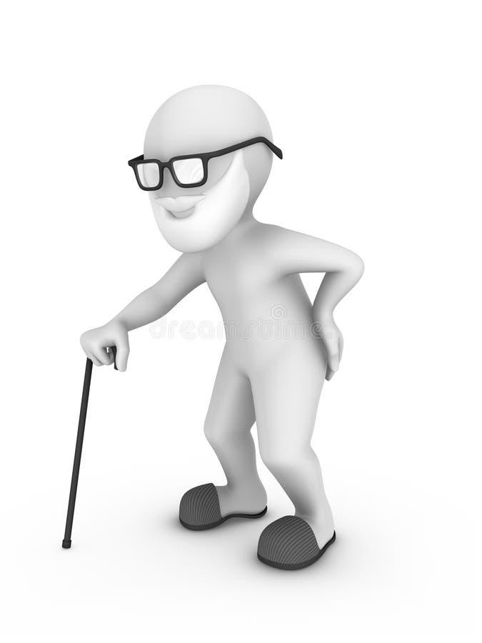 3d stary człowiek z trzciny i talii bólem royalty ilustracja