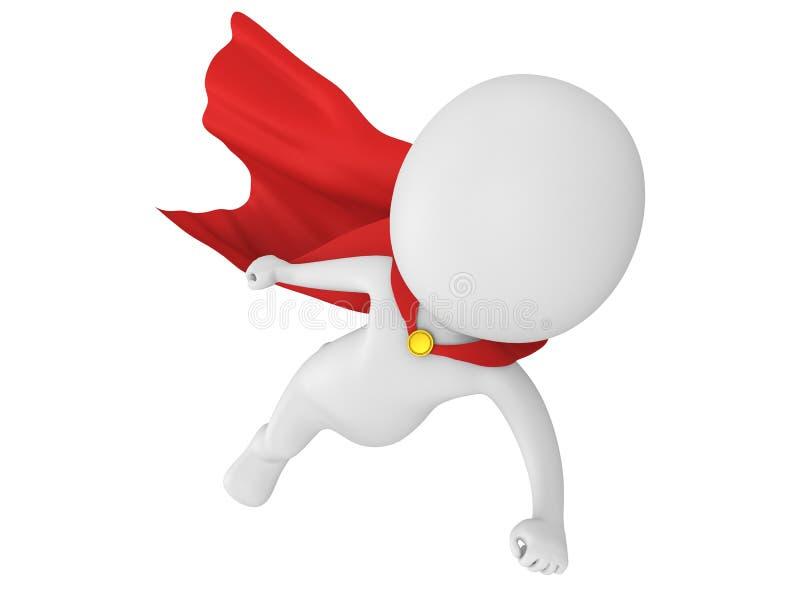 3d stawiają czoło bohatera z czerwonym peleryny lataniem royalty ilustracja