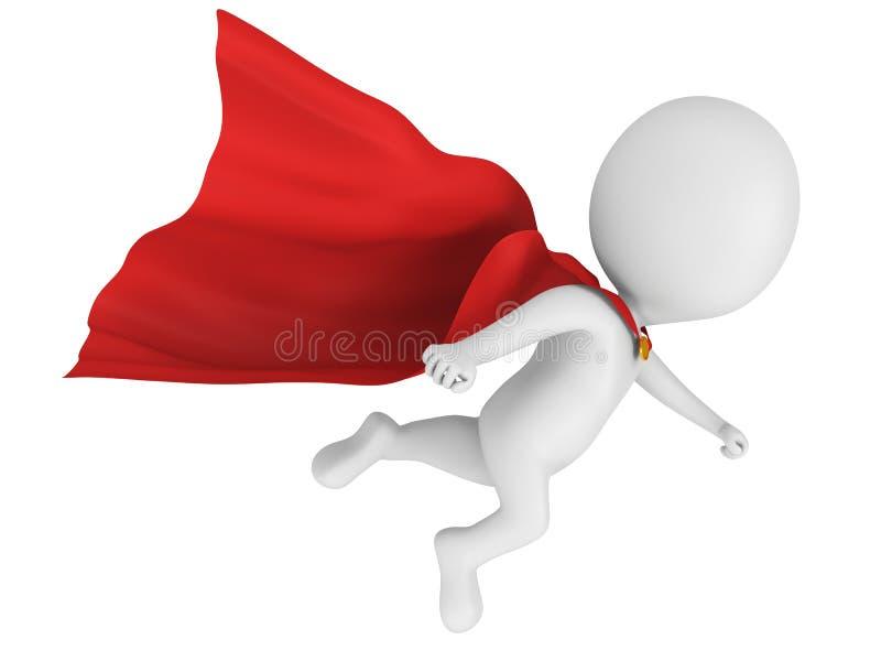 3d stawiają czoło bohatera z czerwonym peleryny lataniem ilustracji